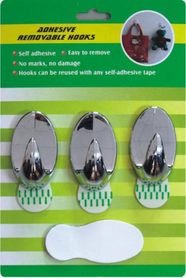 Adhesive removable hooks