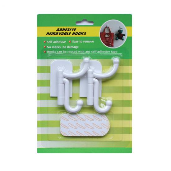 two way adhesive plastic wall hook for home decor
