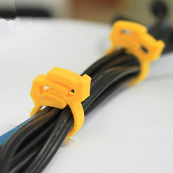 Adjustable plastic cable management wire clip