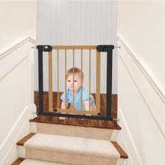Auto Close No Drilling Stair Barrier Wooden Baby Gate